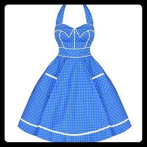 NEW! HELL BUNNY Modcloth Blue Polkadot Swing Dress